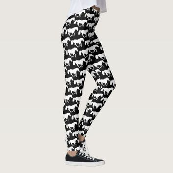 Black and white horses leggings
