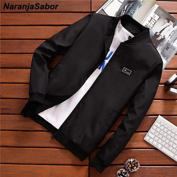 NaranjaSabor Men's Casual Jackets Spring Slim Fit Men Bomber Jacket Male Pilot Flight Coats Mens Brand Clothing N445