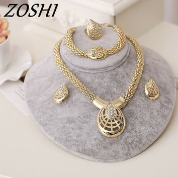 ZOSHI Women Italy Dubai Crystal Necklace Earrings Gold Color Jewelry Sets Wedding Party Bridal Accessories Costume jewelry