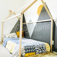 House shaped bed TWIN, toddler bed, nursery wood house bed, bed home, Montessori toy, frame bed, original bed, home bed, floor bed SLATS