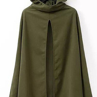Army Green Open Front Hooded Cape