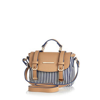 River Island Girls blue stripe satchel bag