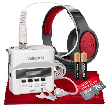 Tascam DR-10LW Portable Digital Recorder (White) with Lavalier Mic and 32GB Card Bundle