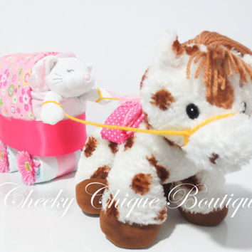 NEW Diaper Cake, Horse & Buggy Diaper Cake, Baby Shower Gift, Centerpiece, Baby Cake, Baby Girl Gift, Kitty, Cat, Horse, Security Blanket