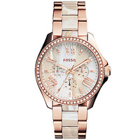 Fossil Ladies Cecil Horn Rose Gold Watch - Rose Gold