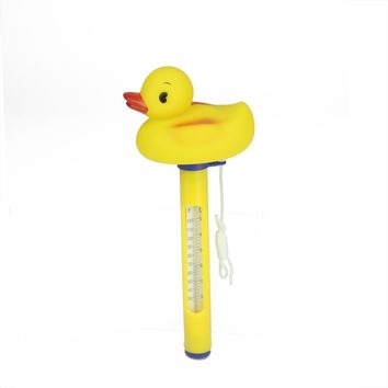 "9.5"" Yellow Duck Floating Swimming Pool Thermometer with Cord"
