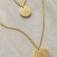 Hammered Disc Layered Necklace by MADE Gold One Size Necklaces