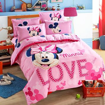 Disney Mickey Mouse Minnie Children Bedding Set Queen Full Single Size Duvet Cover Flatsheet Pillowcase Bedlinen Set for Kids