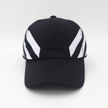 PEAPDQ7 Black Off White Embroidered Adjustable Cotton Baseball Golf Sports Cap Hat