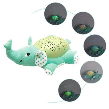 Children Cartoon Animal Music Starry Sky Pattern Projector Light Hippo Elephant Bee Plush Toy Doll Cartoon Comfort Toy