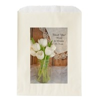 Mason Jar White Tulips Country Wedding Thank You Favor Bags