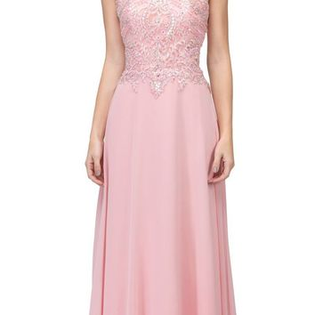 Blush Appliqued Long Formal Dress High Neckline