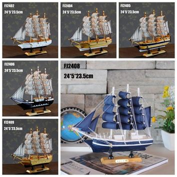 Europe Mediterranean Style Wooden Ship Model Marien Style 24cm Ship Wood Model Home Decoration Accessories Desk Decoration Homes