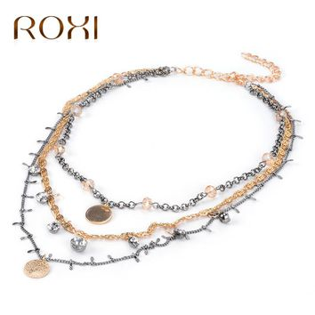 ROXI Fashion Choker Necklace Set Multi Layered Chain Necklace for Women Rose Gold Color Collier Femme 2017 Statement Necklace