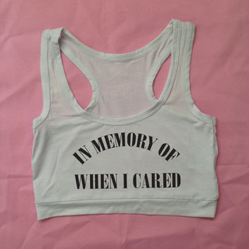 In Memory of When I Cared Halter Crop Top