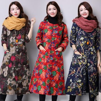 ilstile 2017 Vintage Ladies Floral Print Coats Cotton Casual Long Jacket National Autumn Winter New Warm Parkas Outwear