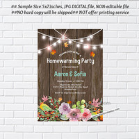 Rustic Fall housewarming party invitation, New house, floral, new home, housewarming - card 1040
