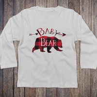 Baby Bear Buffalo Plaid White Long Sleeve - Baby Bear Tops for Kids