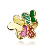 18K Yellow Gold Plated Green and Rose Swarovski Elements Crystal Enamel Three Butterflies Ring, Size 8