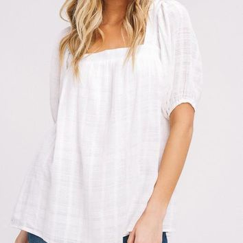 Square Neck Woven Top, Ivory