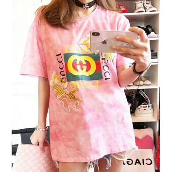 Gucci Fashion Casual Fish embroidered cotton T-shirt Pink G