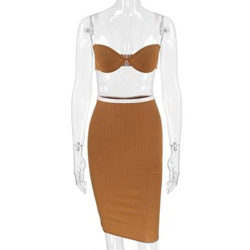 Brown Honey Crop Top + Pencil Skirt Set