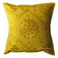 Yellow India Cotton Hand Embroidered Mirror Decorative Throw Pillow