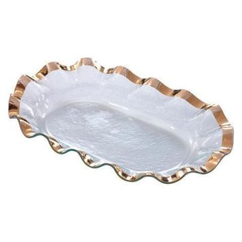 ANNIEGLASS Ruffle Large Shallow Oval Bowl