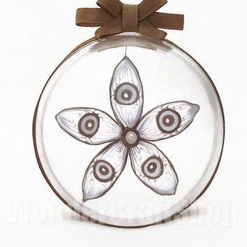 custom christmas ornament, brown decoration, christmas decoration, paper quilled, 5 pointed star, clear ball, christmas ball