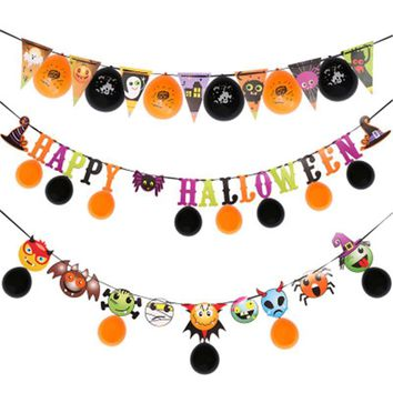 SPNVEBH Halloween Pumpkin Flag Banner Pennant Paper DIY Party Ornaments Christmas Halloween for Home Decoration Party Supplies