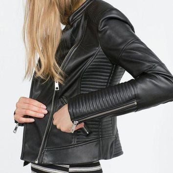 ESBONBX Women Faux Soft Leather Black Zippers Motorcycle Outerwear