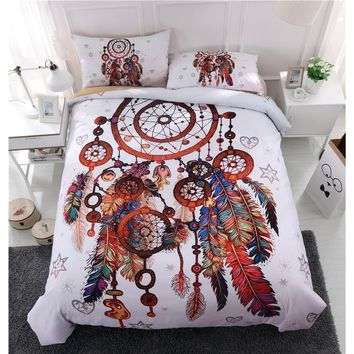 Fashion Bohemia Style Indian Style 3D White Dream Catcher Duvet Cover Set Bedding Set  Quilt Cover Set Twin Full Queen King Size