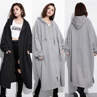 Long Hooded Zip Up Overcoat