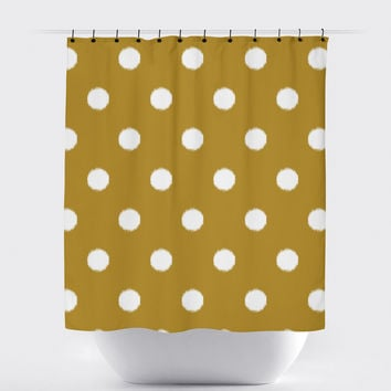 Mustard Polka Dot Ikat Shower Curtain
