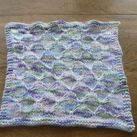 Hand Knit Pastel Cotton Candy Butterfly Stitch Washcloth or Dishcloth