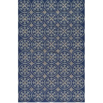 Seneca Blue Medallion Outdoor Rug