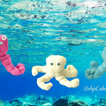 12 CT Octopus Washcloth Under The Sea Nursery Nautical Baby Shower Favors Washcloth Lollipop Diaper Cake Baby Washcloth Animals Baby Gifts
