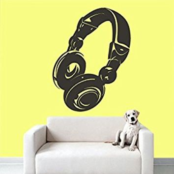 Wall Decal Vinyl Sticker Decals Art Decor Design Headphones Music Loud Electro Live Band Rock Star Pattern Mans Gift Bedroom Dorm (r576)