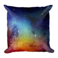 Galaxy Space Rainbow Decorative Throw Pillow 18x18