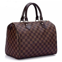 LV Louis Vuitton Trending Women Fashion Print Shopping Leather Tote Handbag Shoulder Bag Coffee I