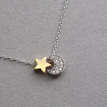 Moon and Star necklace, tiny silver and gold charms, sterling silver chain, crystal cz, small dainty petite minimalist mixed metal