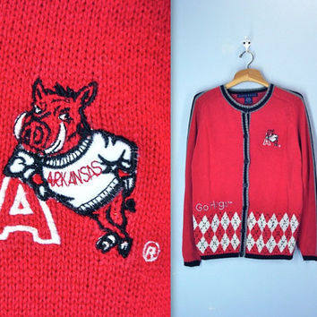 vintage RAZORBACK sweater . University of Arkansas . cardigan . GO HOGS . medium