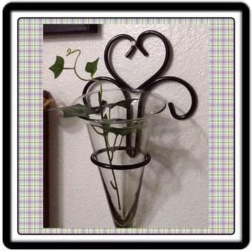 Candle Flower Holder Sconce Vintage Black Wrought Iron Wall Art Wall Hanging Home Decor Country Decor Cottage Chic Decor Victorian Decor