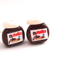 Nutella Jar Earrings, Polymer Clay Miniature Food Jewelry, Nutella Fan,Tiny Nutella Post Earrings, Perfect Gift for Nutella's Fan, Valentine