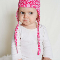 Baby girl hat with ties. Pink and white lacey look.  Pick any size.   (Made by lippybrand)