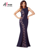 AFMOO 2016  New Summer Women Maxi Dress Plus Size Evening Prom Party Trumpet Ball Gown Vintage Backless Robe Sexy Long Dresses