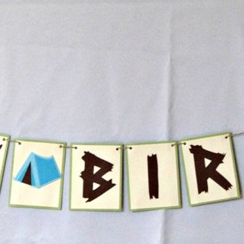 Camping Party Happy Birthday Banner, Camp Out Birthday Banner, Welcome Campers Banner, Camping Birthday Party Decorations