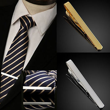 Bluelans Fashion Men's Metal Silver Gold Simple Necktie Tie Bar Clasp Clip Clamp Pin