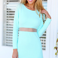 Blue Long Sleeve Slim Bodycon Dress - Sheinside.com