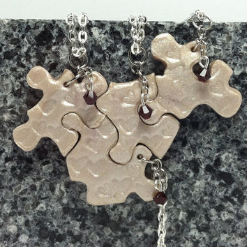 Bridesmaid Best Friend Jewelry Puzzle Necklace Set of 4 Polymer Clay with Swarovski Crystals Set 153